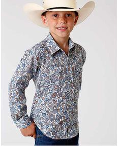 Roper Boys' Amarillo Sky Paisley Print Long Sleeve Western Shirt , Blue, hi-res