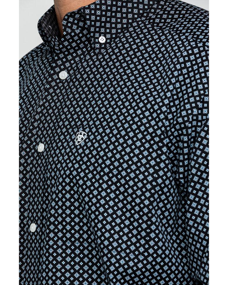 Ariat Men's Wrinkle Free Cleverly Geo Print Long Sleeve Western Shirt - Tall , Black, hi-res