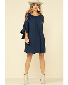 White Label by Panhandle Women's Peasant Bell Sleeve Dress, Navy, hi-res