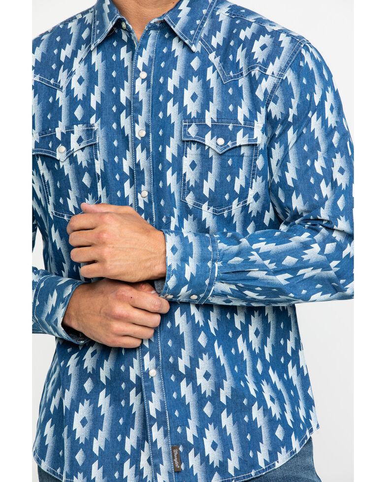 Wrangler Retro Men's Indigo Aztec Print Long Sleeve Western Shirt , Blue, hi-res