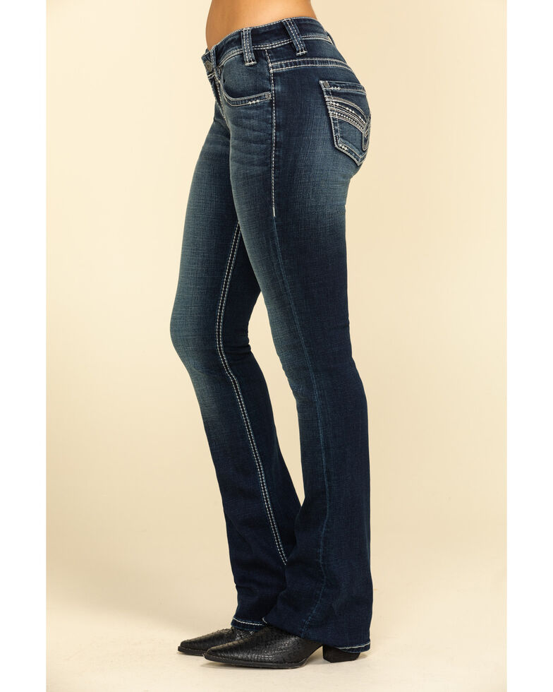 Rock & Roll Cowgirl Women's Dark Rival Low Rise Scroll Bootcut Jeans , Blue, hi-res