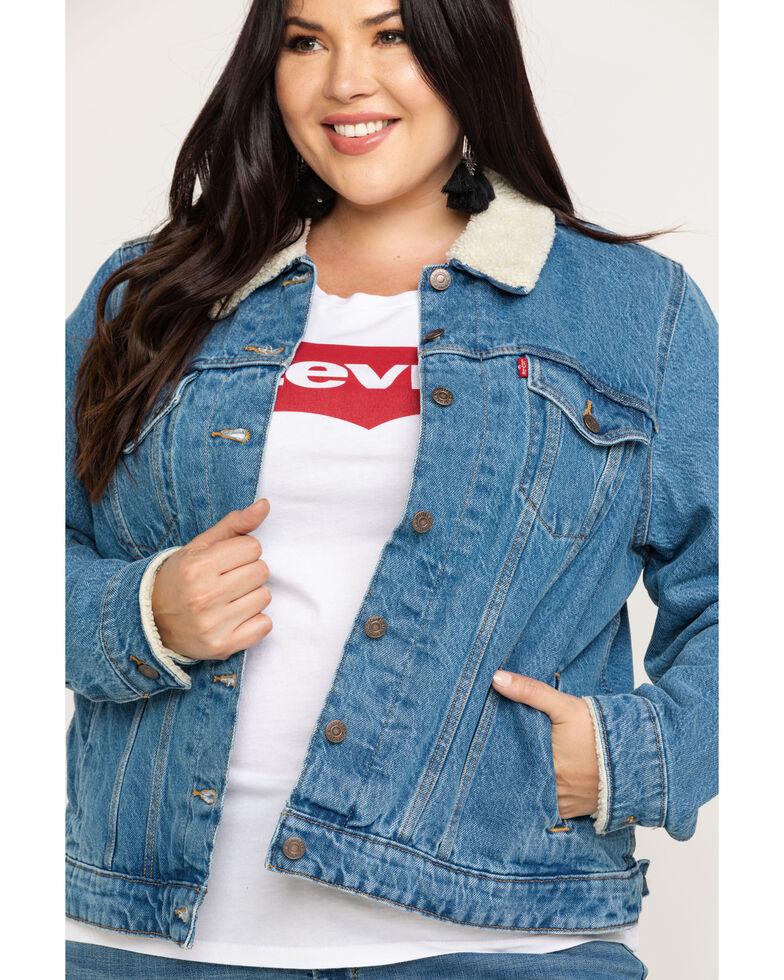 Levi's Women's Doin' Fine Sherpa Trucker Jacket - Plus, Blue, hi-res