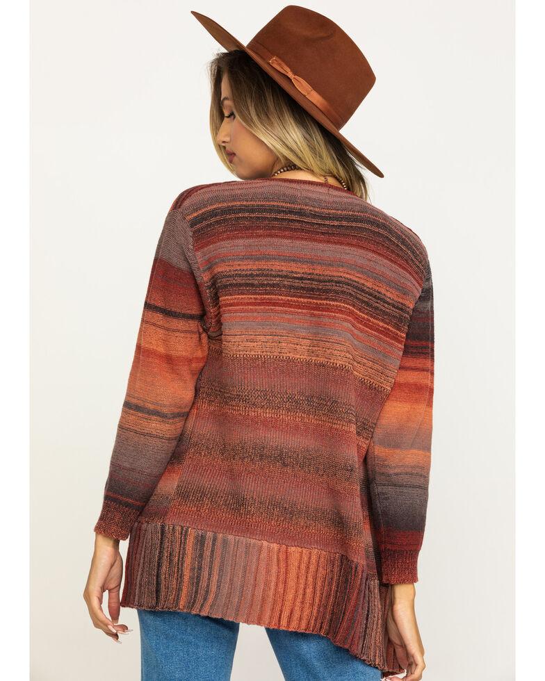 Angie Women's Clay Stripe Drape Fringe Cardigan, Rust Copper, hi-res