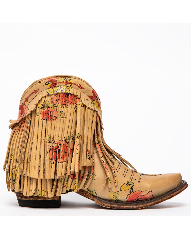 Junk Gypsy by Lane Women's Spitfire Mustard Fringe Booties - Snip Toe, Multi, hi-res
