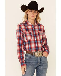 Rock & Roll Denim Women's Multi Plaid Long Sleeve Snap Western Boyfriend Shirt , Red, hi-res