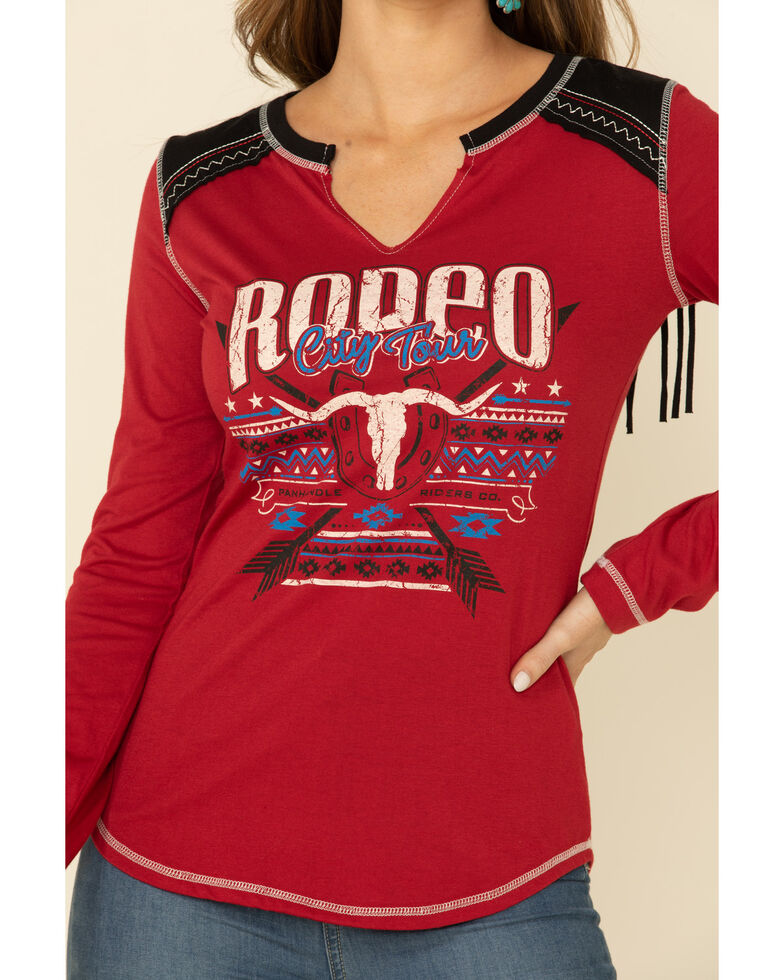 White Label by Panhandle Women's Red Rodeo City Tour Fringe Tee, Red, hi-res