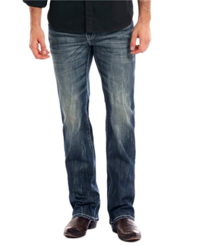 Rock & Roll Cowboy Men's Reflex Pistol Dark Vintage Wash Straight Leg Jeans, Indigo, hi-res