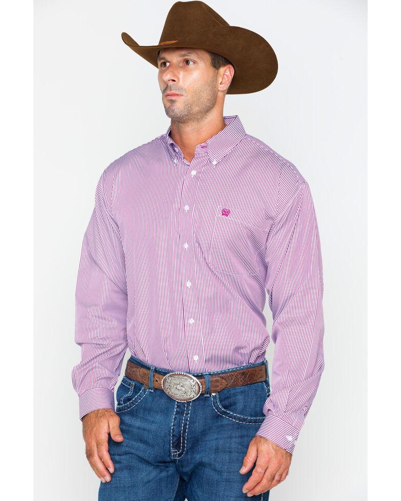 Cinch Men's Burgundy Stripe Long Sleeve Button Down Shirt, Burgundy, hi-res
