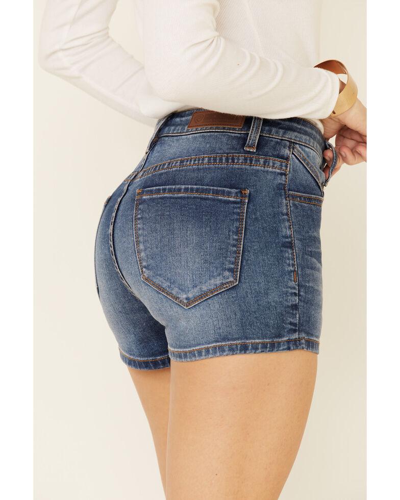 Rock & Roll Denim Women's Short Yoke Shorts, Blue, hi-res