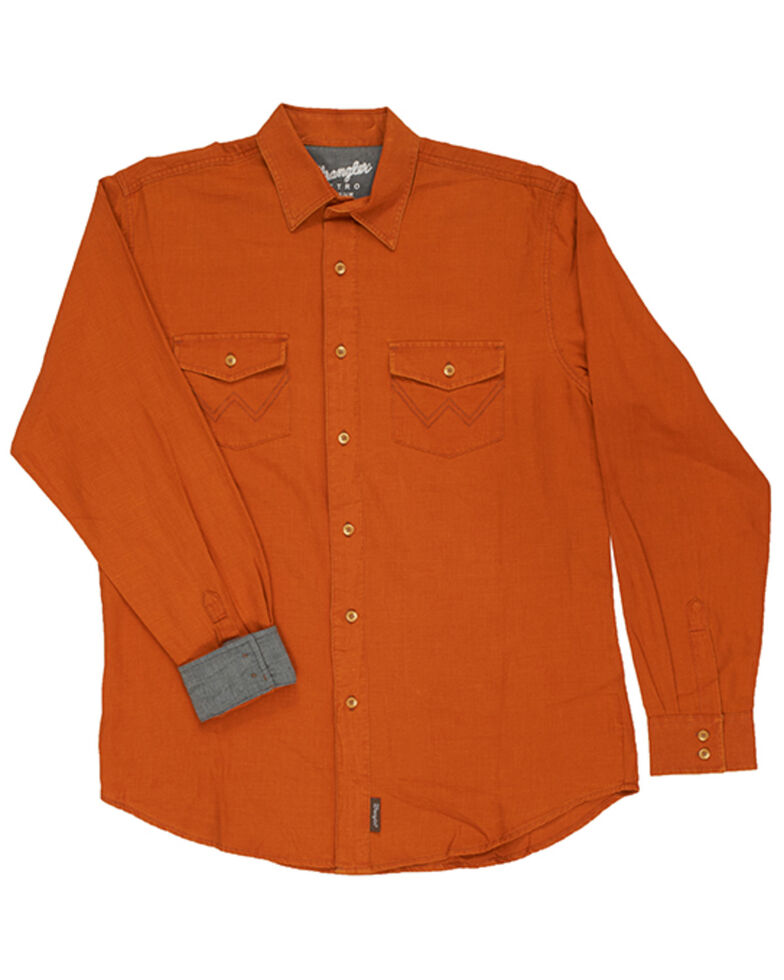 Wrangler Retro Premium Men's Solid Amber Long Sleeve Button-Down Western Shirt - Tall, Orange, hi-res