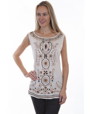Honey Creek by Scully Women's Ivory Embroidered Tank Top, Ivory, hi-res