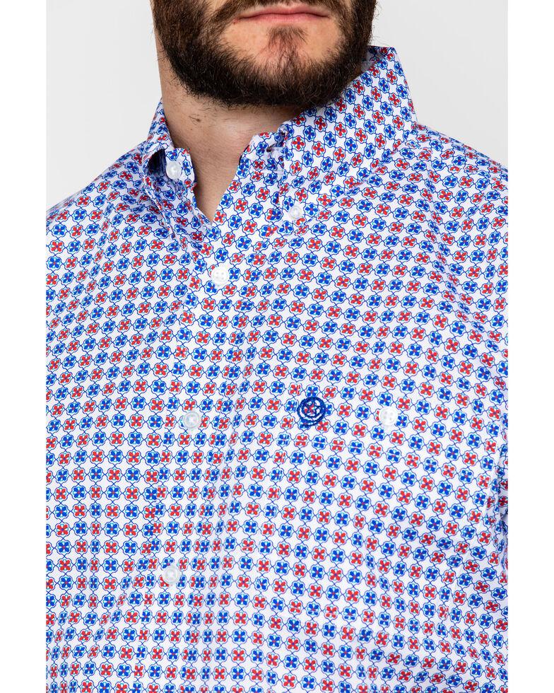 George Strait by Wrangler Men's Geo Print Button Short Sleeve Western Shirt , Red/white/blue, hi-res
