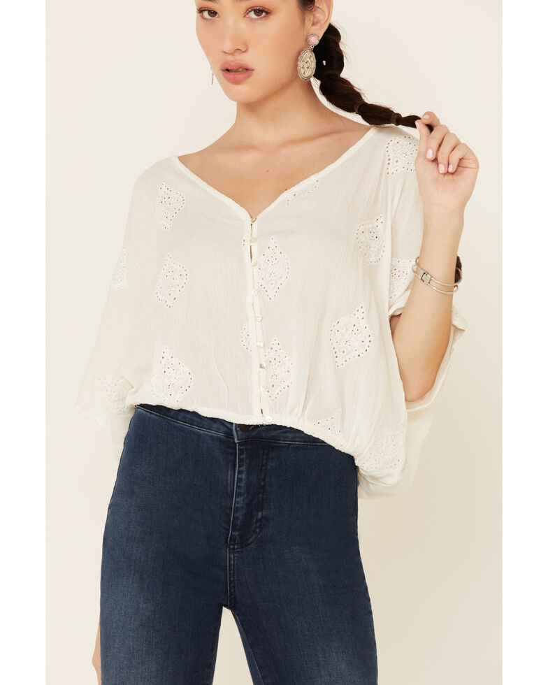 Angie Women's Embroidered Button-Down Long Sleeve Flowy Top, White, hi-res