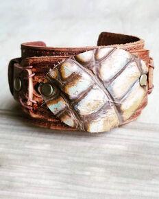 Jewelry Junkie Women's Tan Oval Gator Print Leather Cuff, Tan, hi-res