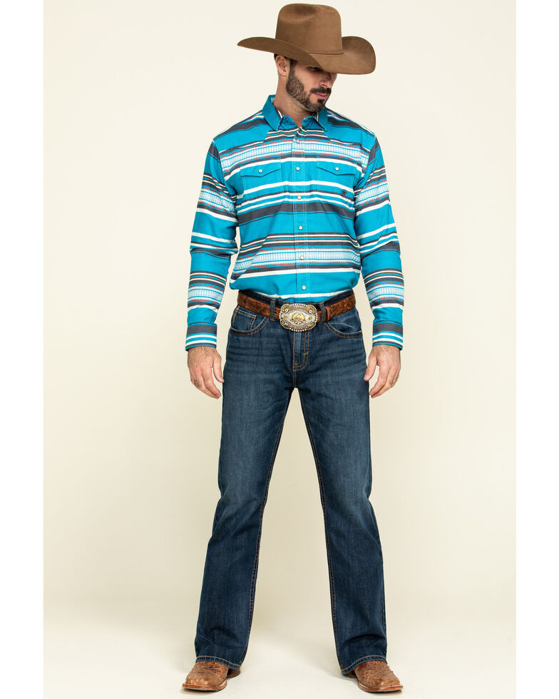 Ariat Men's Blue Johndale Striped Long Sleeve Western Shirt , Blue, hi-res
