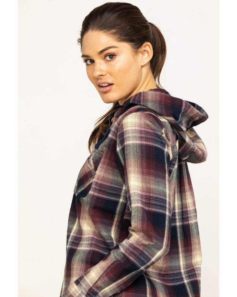 Carhartt Women's Beartooth Hooded Flannel Shirt, Dark Grey, hi-res
