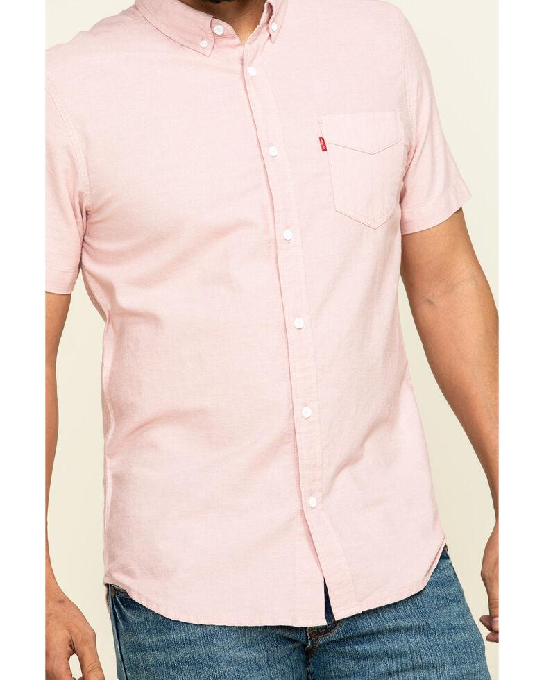 Levis' Men's Pink Rowney Dobby Plaid Short Sleeve Western Shirt , Pink, hi-res