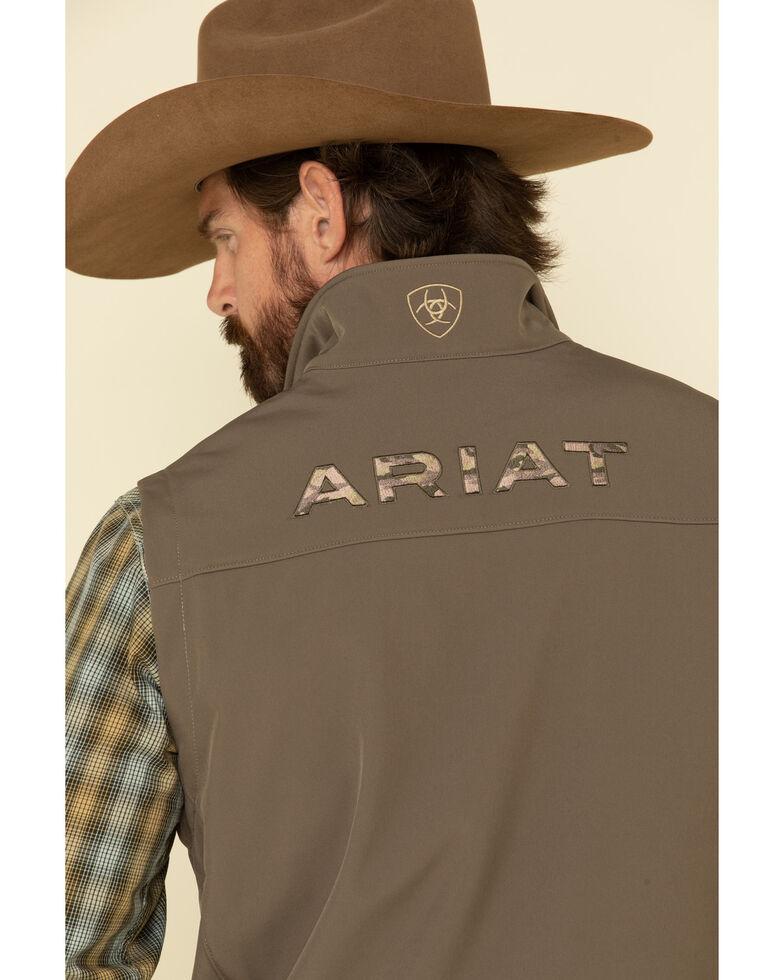 Ariat Men's Brown Camo Logo 2.0 Softshell Vest , Brown, hi-res