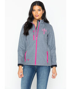 Cowgirl Hardware Women's Swirl Cross Poly Shell Jacket, Grey, hi-res
