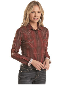 Panhandle Women's Brown Floral Print Embroidered Long Sleeve Western Shirt - Plus , Brown, hi-res