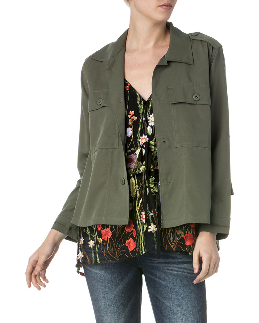 Miss Me Women's Get Ready to Ruffle Jacket, Olive, hi-res