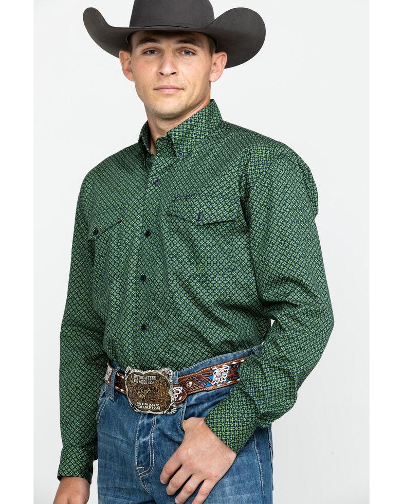 Roper Men's Amarillo Satellite Geo Print Long Sleeve Western Shirt  , Green, hi-res
