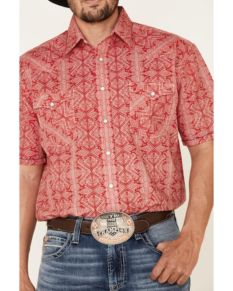 Rough Stock By Panhandle Men's Red Diamond Geo Print Short Sleeve Western Shirt , Red, hi-res