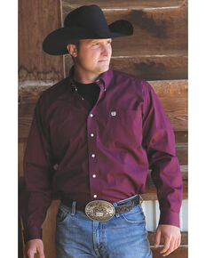Cinch Men's Solid Burgundy Button Long Sleeve Shirt - Big & Tall, Burgundy, hi-res