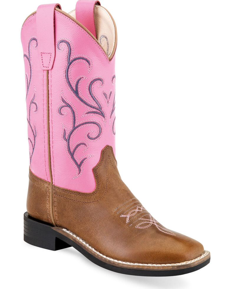 Old West Girls' Tan/Pink Embroidered Cowgirl Boots - Square Toe, Tan, hi-res