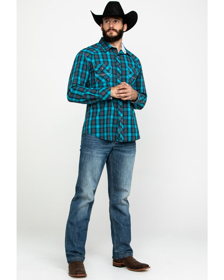 Rock & Roll Cowboy Men's Turquoise Ombre Plaid Long Sleeve Western Shirt , Turquoise, hi-res