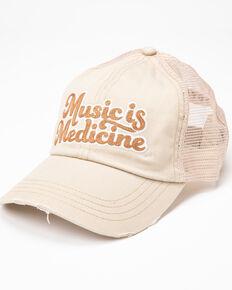 Idyllwind Women's Music Is Medicine Ball Cap , Ivory, hi-res