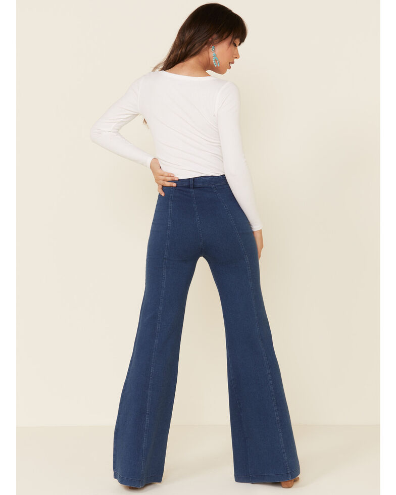 Flying Tomato Women's Bareback Salt & Pepper Flare Jeans, Blue, hi-res