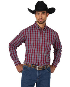 Wrangler Men's Classic Check Plaid Long Sleeve Western Shirt , Burgundy, hi-res
