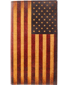 Nocona Men's Vintage American Flag Rodeo Wallet , Red/white/blue, hi-res