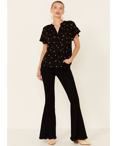 Mystree Women's Black Floral Print Button-Down Short Sleeve Top, Black, hi-res