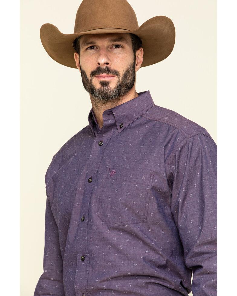 Ariat Men's Rupert Dobby Geo Print Long Sleeve Western Shirt , Purple, hi-res