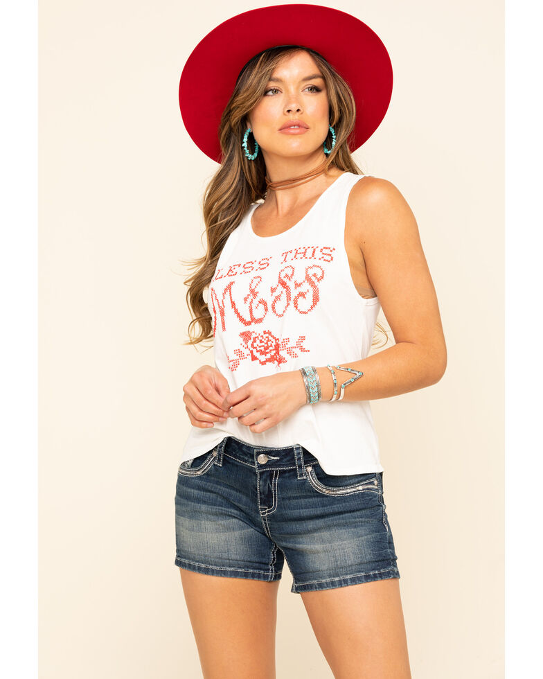 Bandit Brand Women's Bless This Mess Rad Tank Top  , White, hi-res