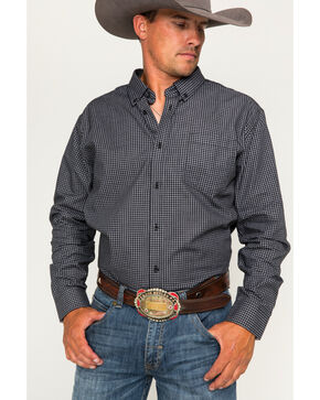 Cody James Core Men's Flankman Checkered Long Sleeve Shirt, Black, hi-res