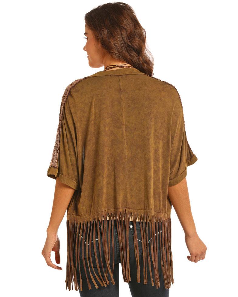 Rock & Roll Cowgirl Women's Crochet Shoulder Kimono, Brown, hi-res