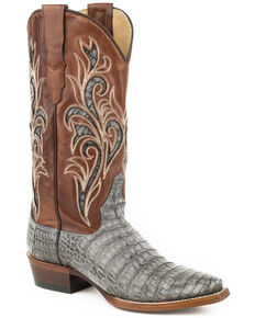 Stetson Women's Gray Clarisa Caiman Skin Boots - Snip Toe , Grey, hi-res