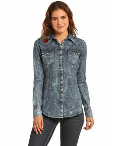 Rock & Roll Cowgirl Women's Denim Rose Embroidered Shirt , Indigo, hi-res