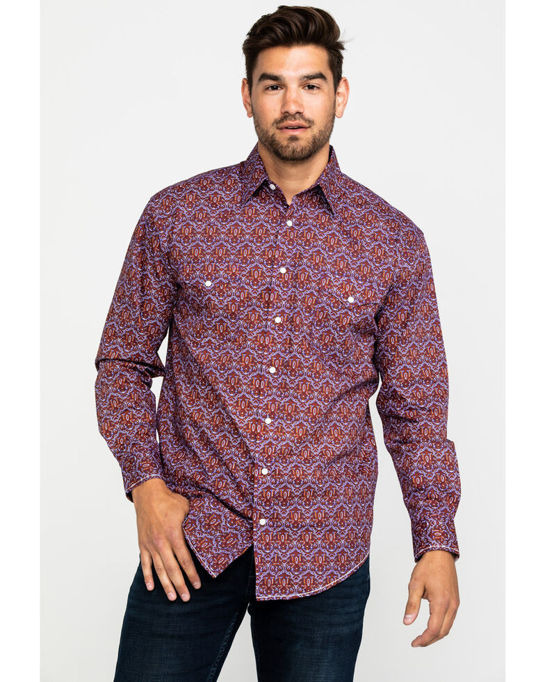 Rough Stock By Panhandle Men's Granville Aztec Print Long Sleeve Western Shirt , Grape, hi-res