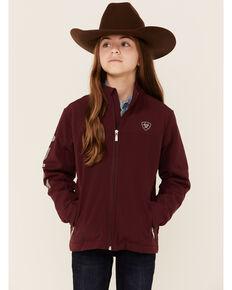 Ariat Girls' Windsor Wine New Team Logo Sleeve Zip-Front Softshell Jacket , Wine, hi-res