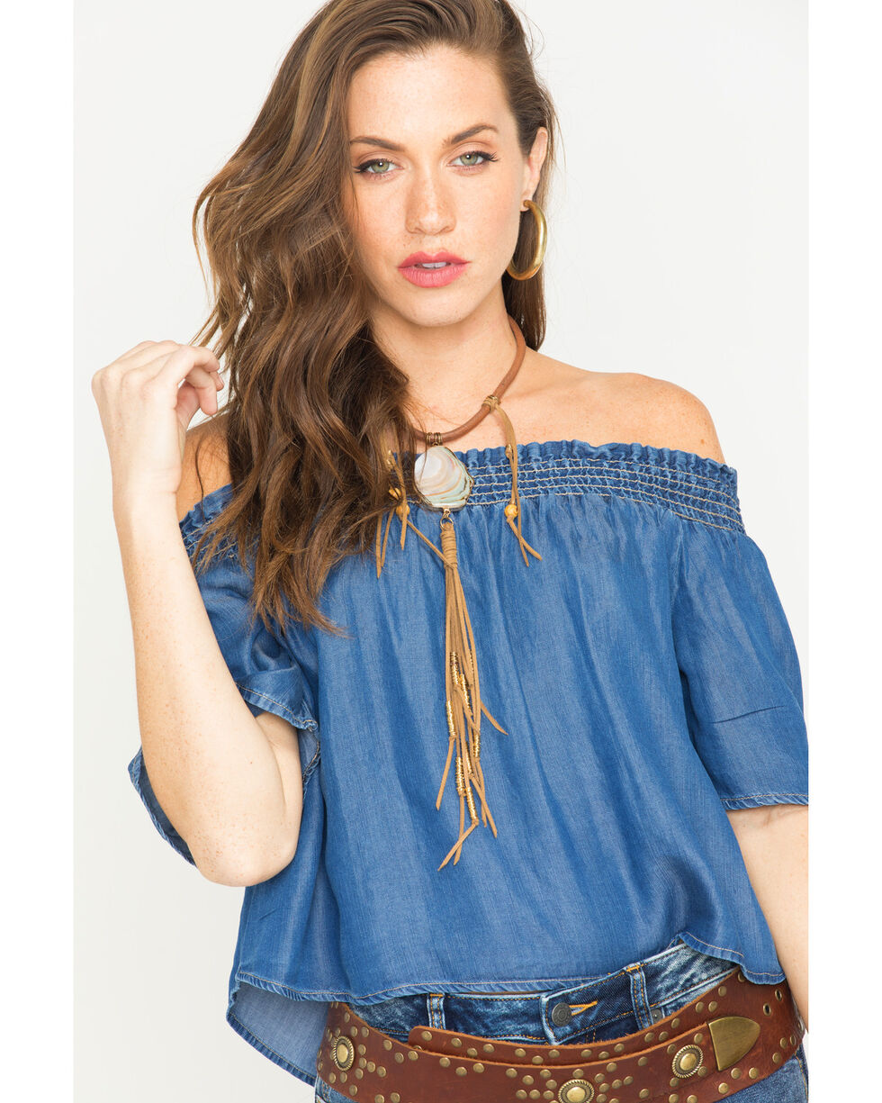 Glam Women's Indigo Smocked Off The Shoulder Top , Indigo, hi-res