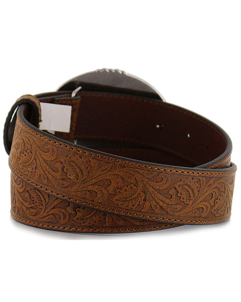 Cody James Men's Bronc Buckle Tooled Leather Belt, Tan, hi-res