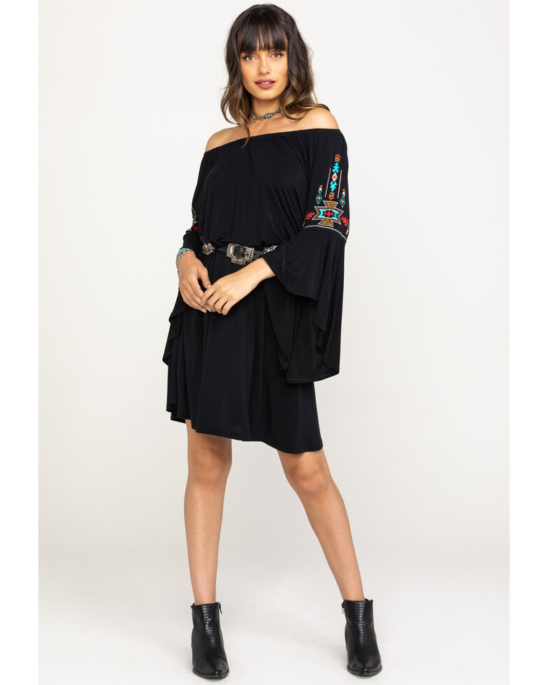 White Label by Panhandle Women's Knit Trumpet Sleeve Peasant Dress, Black, hi-res