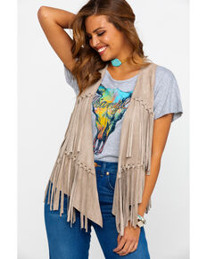 Vocal Women's Faux Suede Fringe Vest , Taupe, hi-res