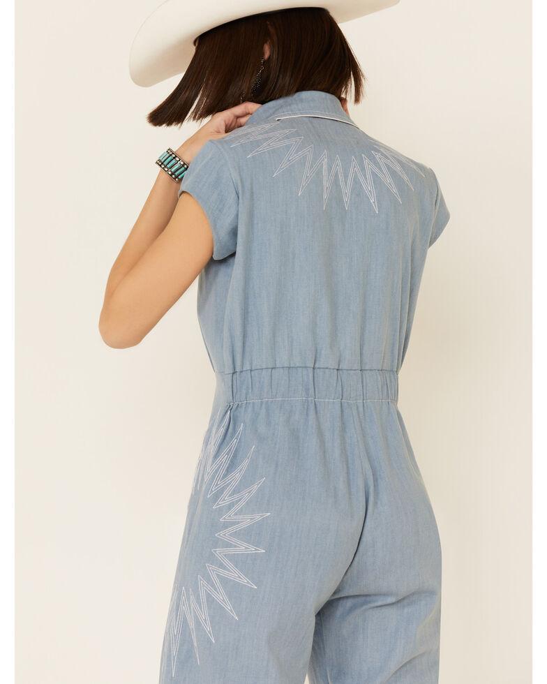 Understated Leather Women's Chambray Sunburst Jumpsuit, Blue, hi-res