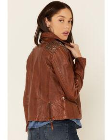 Mauritius Women's Happy Studded Shoulder Leather Jacket , Cognac, hi-res