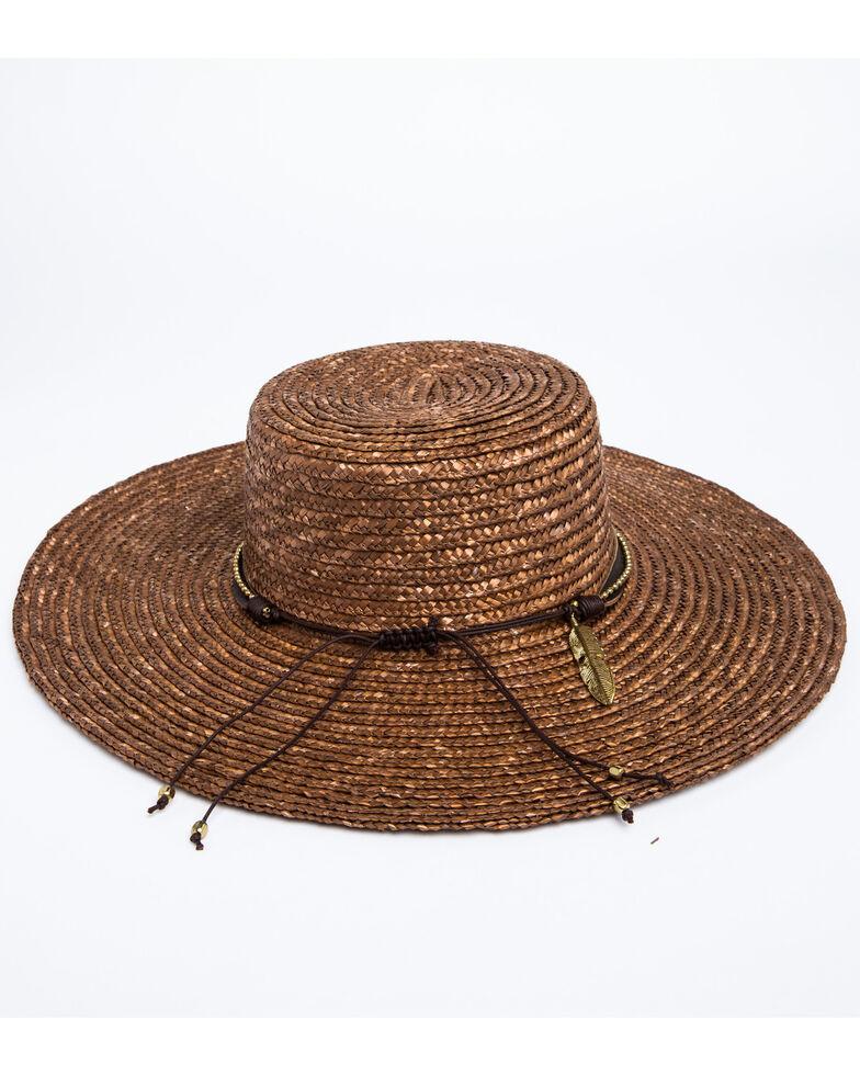 Nikki Beach Women's Kos Milan Boater Straw Hat , Bronze, hi-res